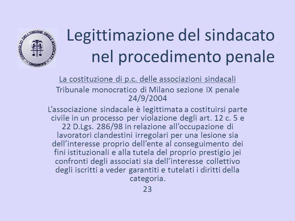 Legittimazione del sindacato nel procedimento penale La costituzione di p.c. delle associazioni sindacali Tribunale monocratico di Milano sezione IX p