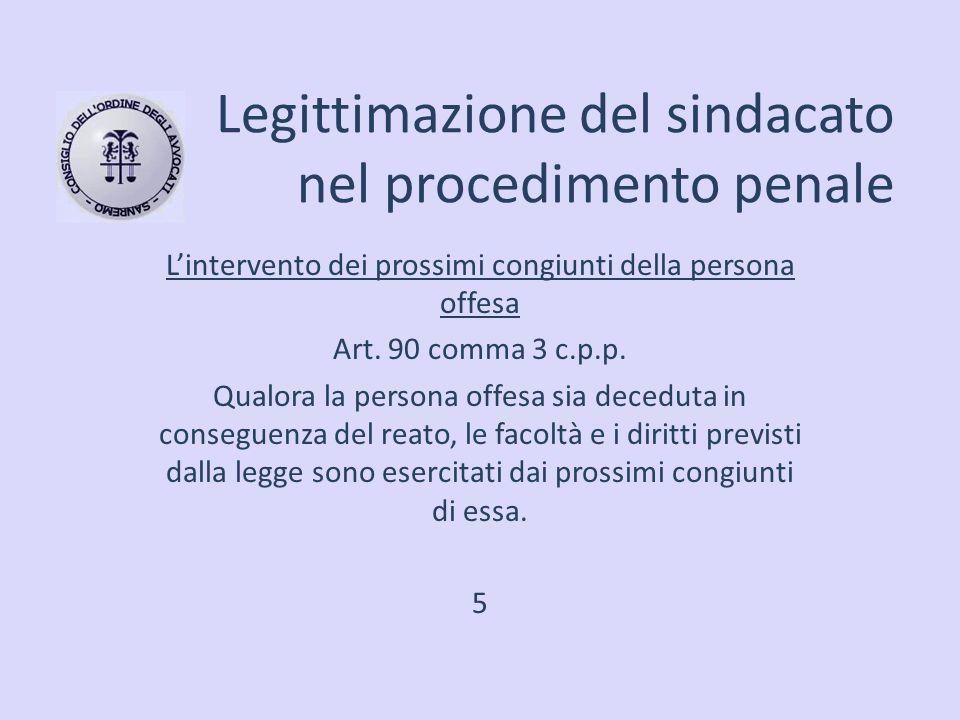 Legittimazione del sindacato nel procedimento penale L'intervento dei prossimi congiunti della persona offesa Art. 90 comma 3 c.p.p. Qualora la person