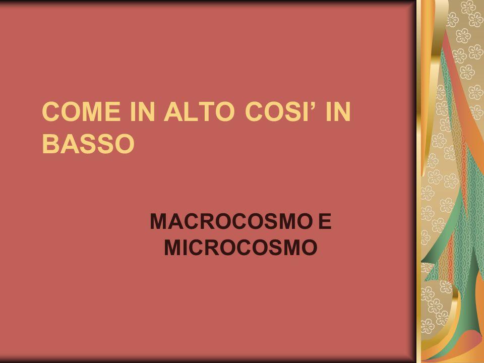 COME IN ALTO COSI' IN BASSO MACROCOSMO E MICROCOSMO