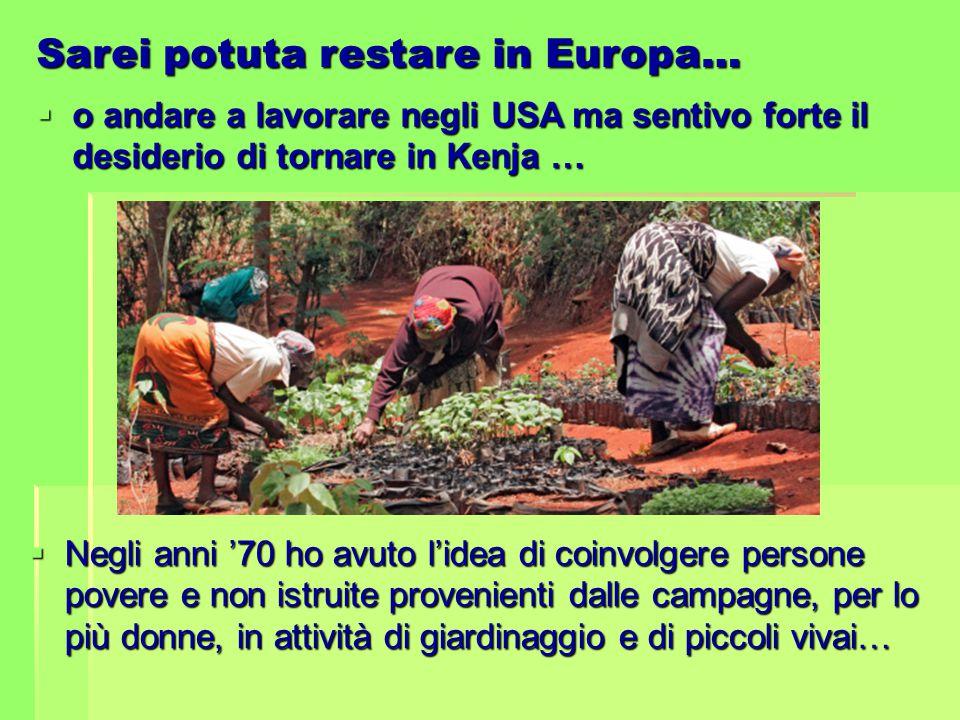 Sarei potuta restare in Europa…  o andare a lavorare negli USA ma sentivo forte il desiderio di tornare in Kenja …  Negli anni '70 ho avuto l'idea d