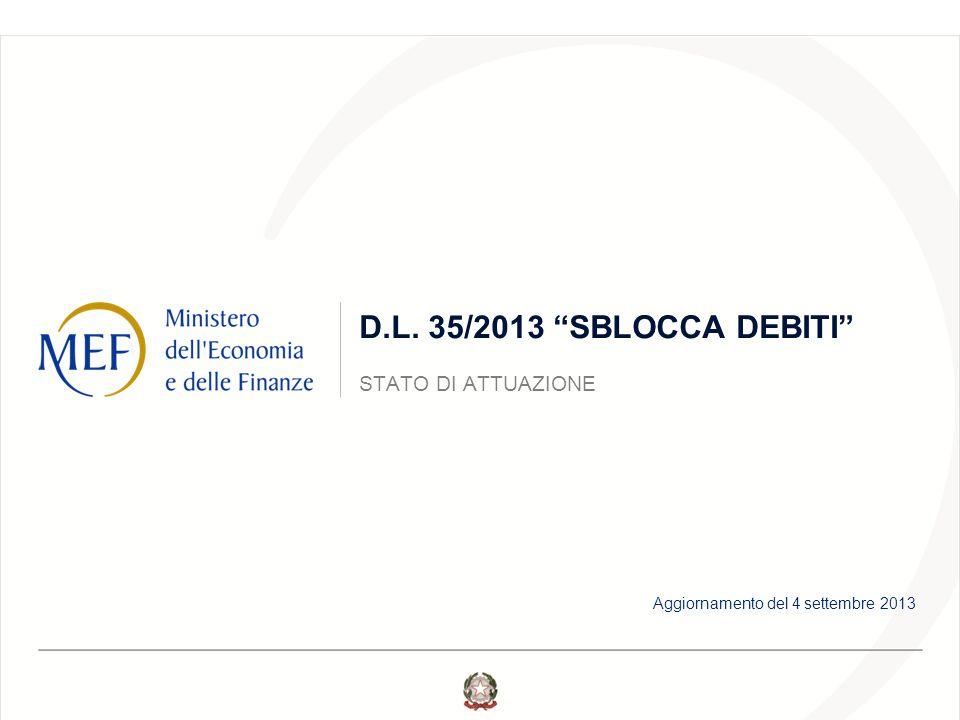 D.L. 35/2013 SBLOCCA DEBITI STATO DI ATTUAZIONE Aggiornamento del 4 settembre 2013