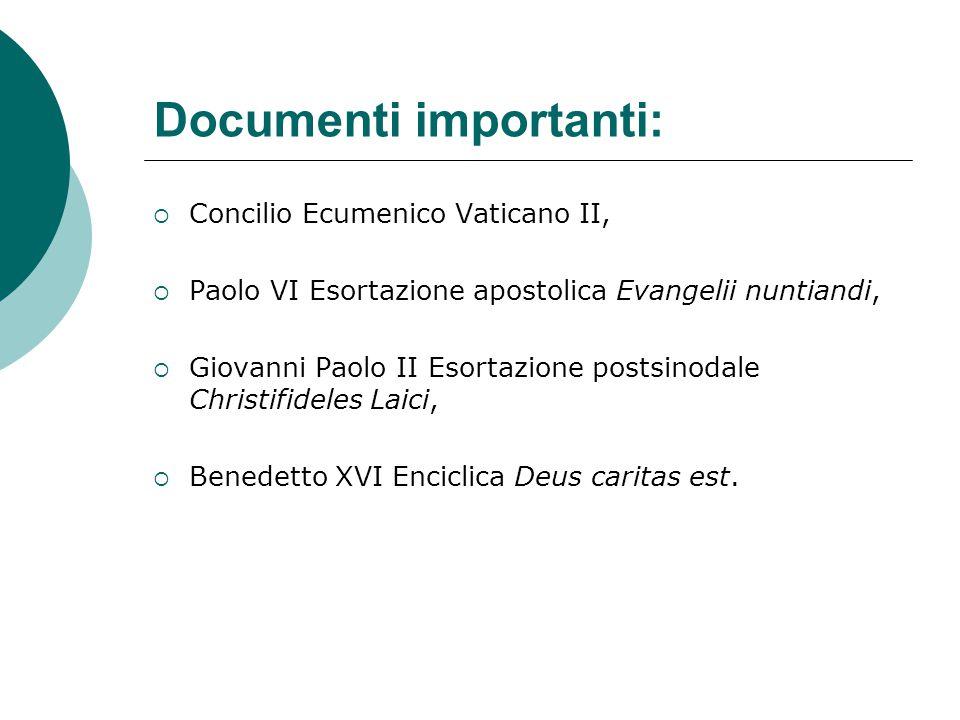 Documenti importanti:  Concilio Ecumenico Vaticano II,  Paolo VI Esortazione apostolica Evangelii nuntiandi,  Giovanni Paolo II Esortazione postsi