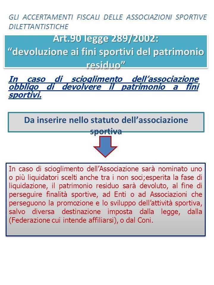 In caso di scioglimento dell'associazione obbligo di devolvere il patrimonio a fini sportivi. In caso di scioglimento dell'Associazione sarà nominato