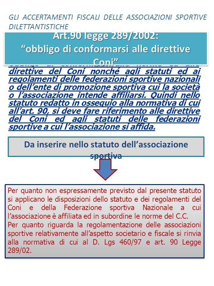 Obbligo di conformarsi alle norme ed alle direttive del Coni nonché agli statuti ed ai regolamenti delle federazioni sportive nazionali o dell'ente di