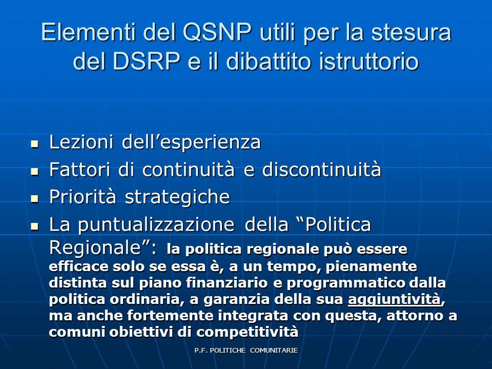 P.F. POLITICHE COMUNITARIE Elementi del QSNP utili per la stesura del DSRP e il dibattito istruttorio  Lezioni dell'esperienza  Fattori di continuit