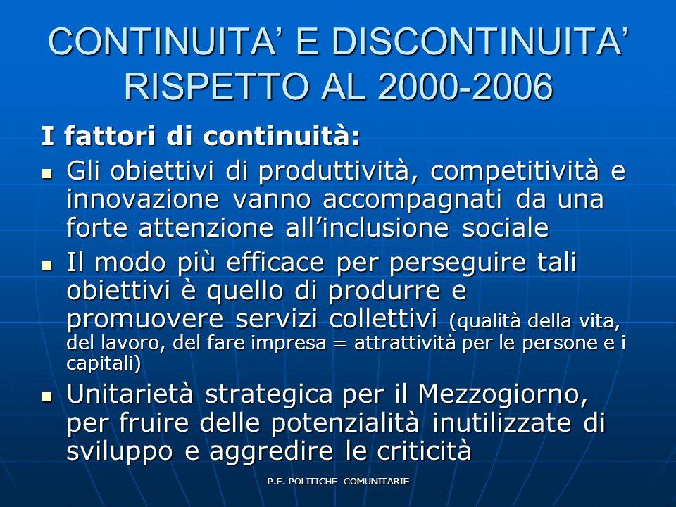 P.F. POLITICHE COMUNITARIE CONTINUITA' E DISCONTINUITA' RISPETTO AL 2000-2006 I fattori di continuità:  Gli obiettivi di produttività, competitività