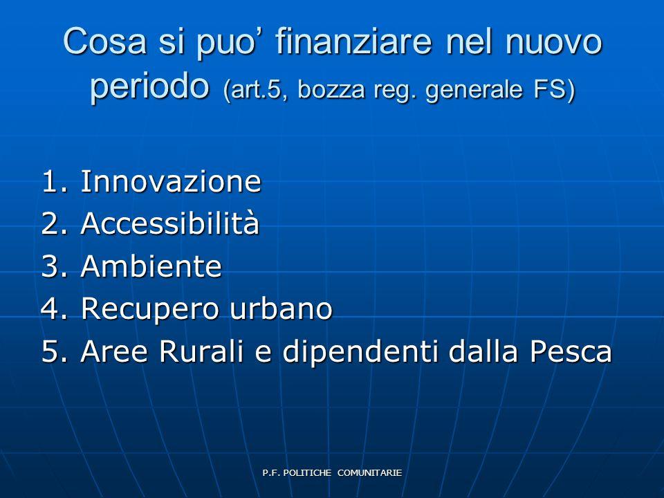 P.F. POLITICHE COMUNITARIE Cosa si puo' finanziare nel nuovo periodo (art.5, bozza reg.