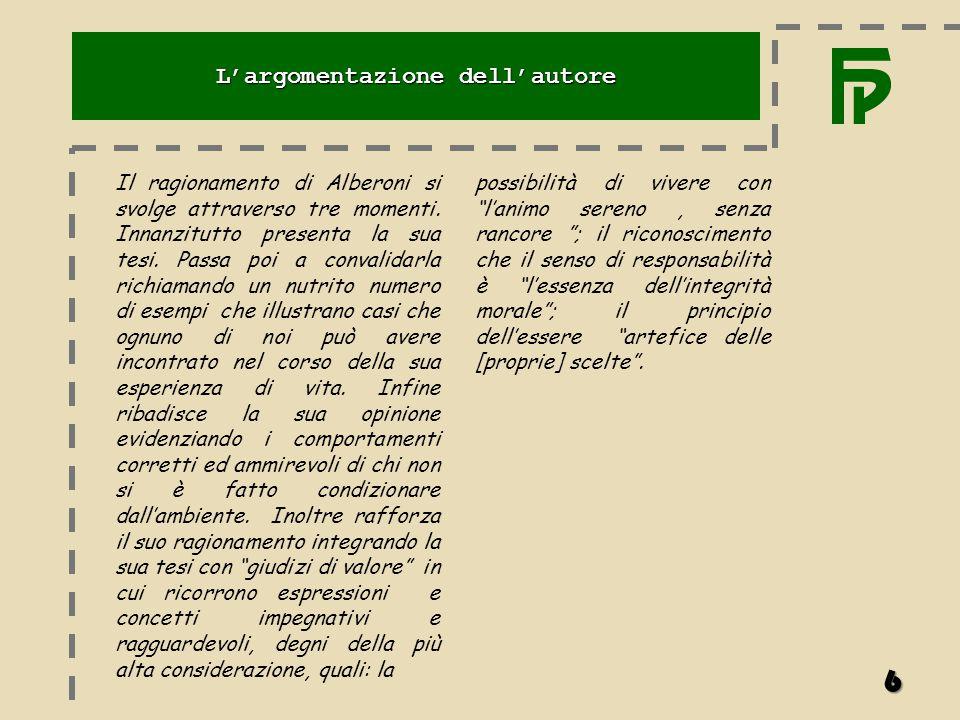 Il ragionamento di Alberoni si svolge attraverso tre momenti. Innanzitutto presenta la sua tesi. Passa poi a convalidarla richiamando un nutrito numer