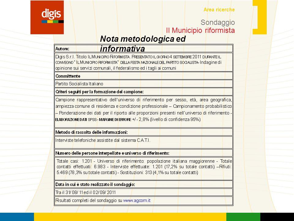 4 Area ricerche Sondaggio Il Municipio riformista Nota metodologica ed informativa