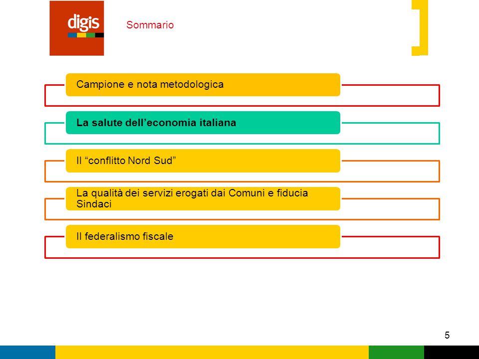 5 Sommario Campione e nota metodologicaLa salute dell'economia italianaIl conflitto Nord Sud La qualità dei servizi erogati dai Comuni e fiducia Sindaci Il federalismo fiscale