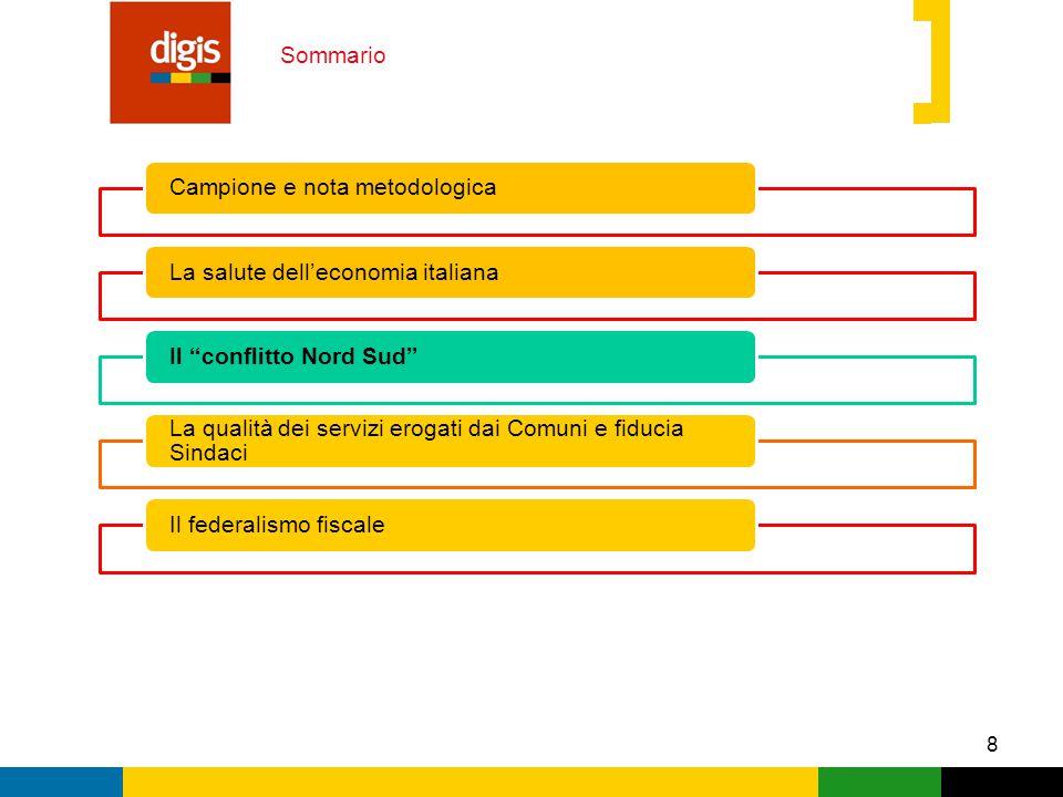 8 Sommario Campione e nota metodologicaLa salute dell'economia italianaIl conflitto Nord Sud La qualità dei servizi erogati dai Comuni e fiducia Sindaci Il federalismo fiscale