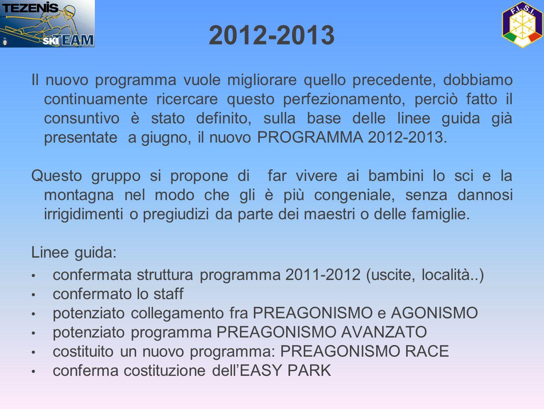 Il nuovo programma vuole migliorare quello precedente, dobbiamo continuamente ricercare questo perfezionamento, perciò fatto il consuntivo è stato definito, sulla base delle linee guida già presentate a giugno, il nuovo PROGRAMMA 2012-2013.