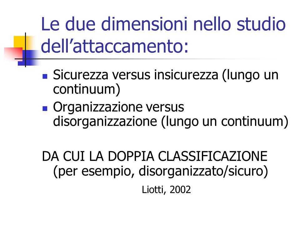 Le due dimensioni nello studio dell'attaccamento:  Sicurezza versus insicurezza (lungo un continuum)  Organizzazione versus disorganizzazione (lungo