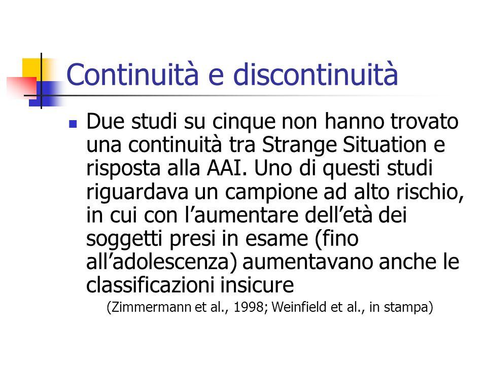 Continuità e discontinuità  Due studi su cinque non hanno trovato una continuità tra Strange Situation e risposta alla AAI. Uno di questi studi rigua
