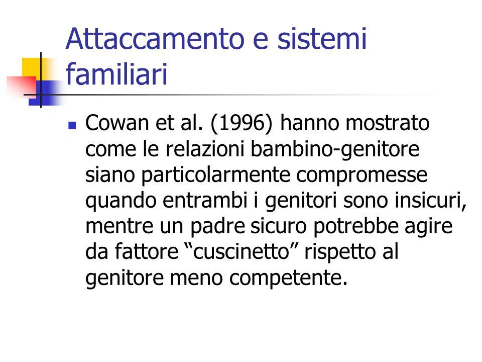 Attaccamento e sistemi familiari  Cowan et al. (1996) hanno mostrato come le relazioni bambino-genitore siano particolarmente compromesse quando entr