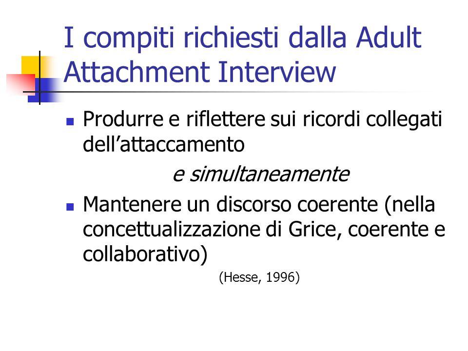I compiti richiesti dalla Adult Attachment Interview  Produrre e riflettere sui ricordi collegati dell'attaccamento e simultaneamente  Mantenere un