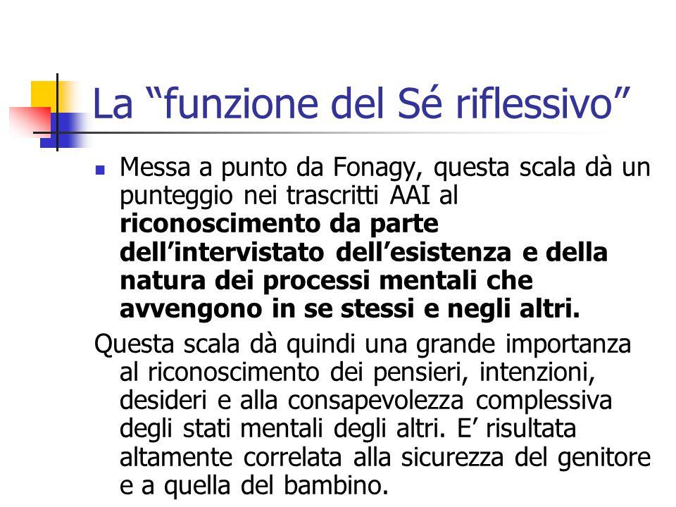 """La """"funzione del Sé riflessivo""""  Messa a punto da Fonagy, questa scala dà un punteggio nei trascritti AAI al riconoscimento da parte dell'intervistat"""