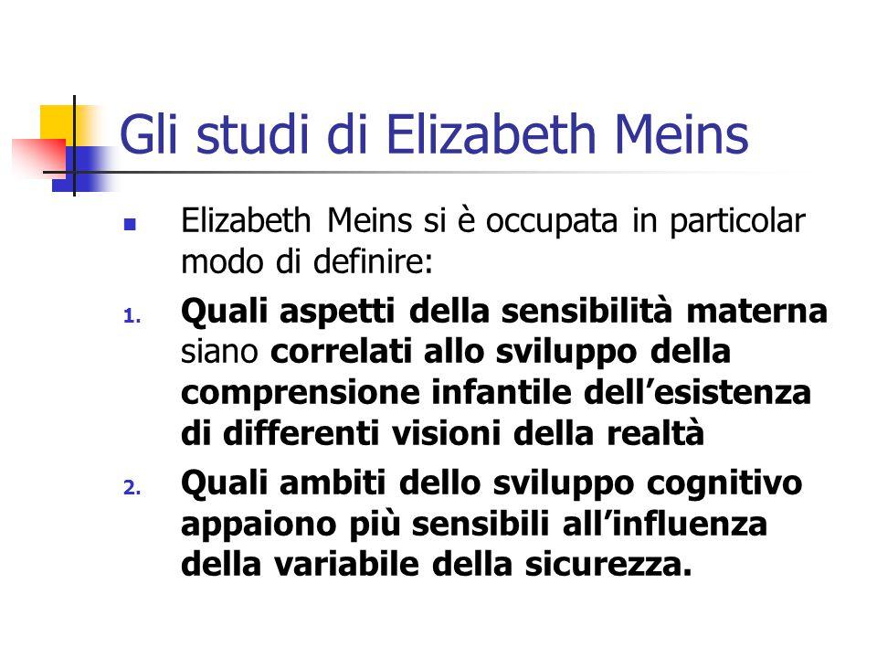 Gli studi di Elizabeth Meins  Elizabeth Meins si è occupata in particolar modo di definire: 1. Quali aspetti della sensibilità materna siano correlat