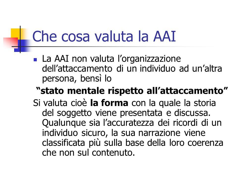 """Che cosa valuta la AAI  La AAI non valuta l'organizzazione dell'attaccamento di un individuo ad un'altra persona, bensì lo """"stato mentale rispetto al"""