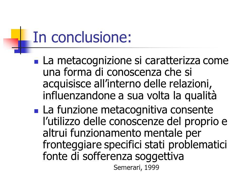 In conclusione:  La metacognizione si caratterizza come una forma di conoscenza che si acquisisce all'interno delle relazioni, influenzandone a sua v