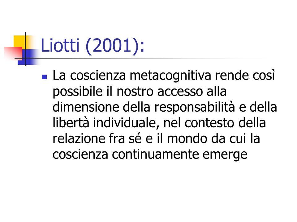 Liotti (2001):  La coscienza metacognitiva rende così possibile il nostro accesso alla dimensione della responsabilità e della libertà individuale, n