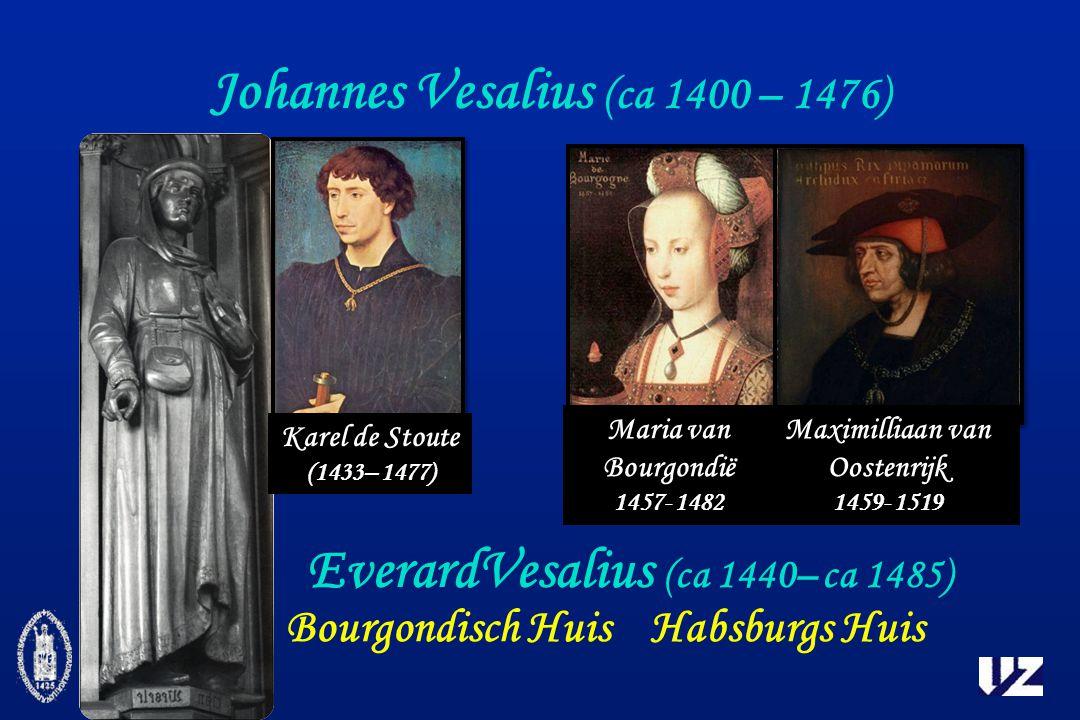 Johannes Vesalius (ca 1400 – 1476) Karel de Stoute (1433– 1477) EverardVesalius (ca 1440– ca 1485) Maria van Bourgondië 1457- 1482 Maximilliaan van Oostenrijk 1459- 1519 Bourgondisch HuisHabsburgs Huis