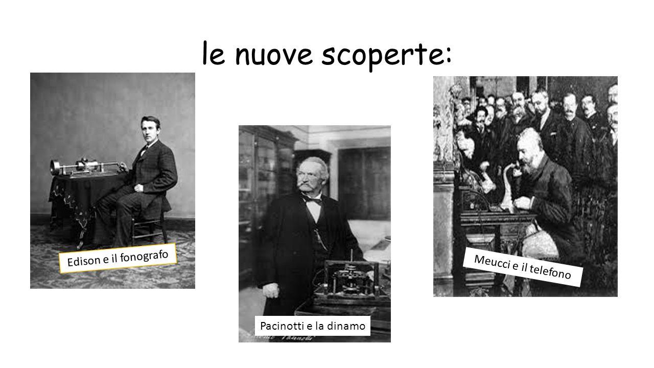 le nuove scoperte: Edison e il fonografo Pacinotti e la dinamo Meucci e il telefono
