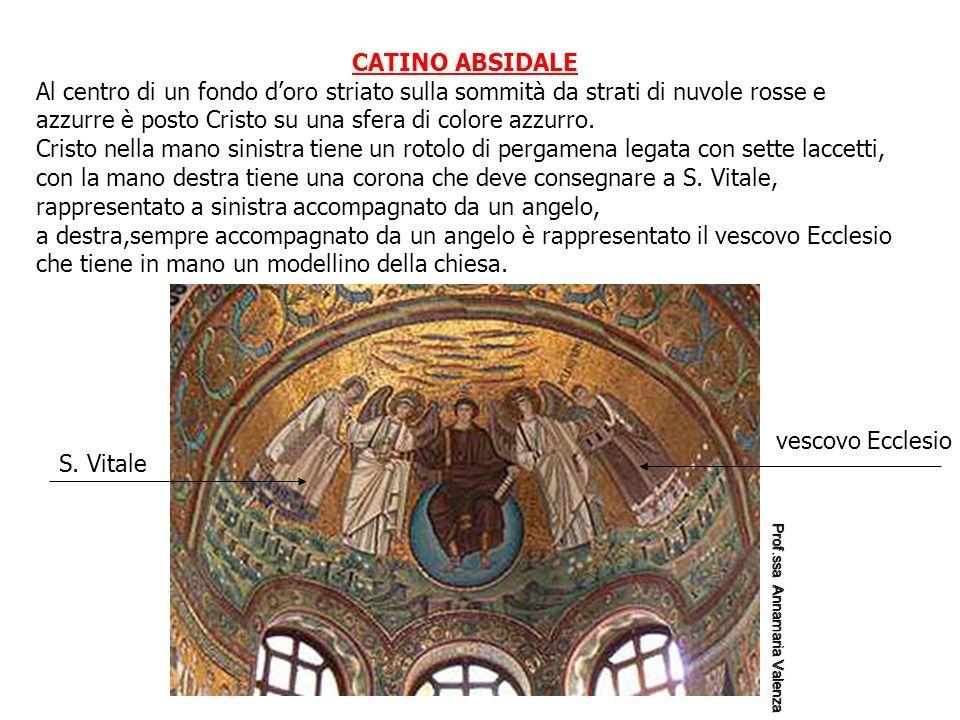 CATINO ABSIDALE Al centro di un fondo d'oro striato sulla sommità da strati di nuvole rosse e azzurre è posto Cristo su una sfera di colore azzurro.