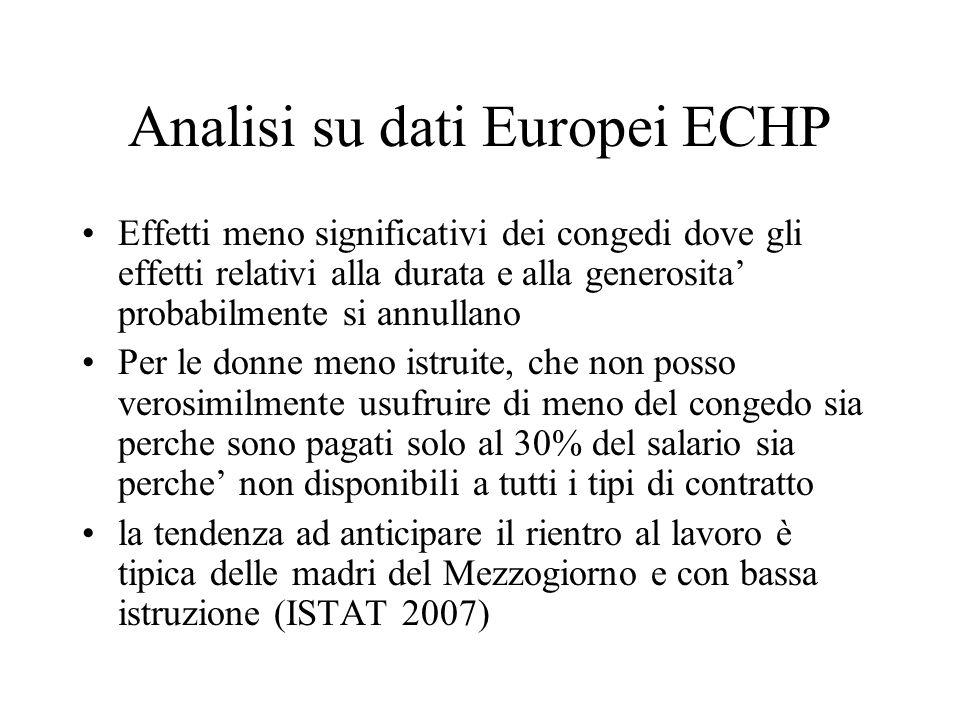 Analisi su dati Europei ECHP Effetti meno significativi dei congedi dove gli effetti relativi alla durata e alla generosita' probabilmente si annullan