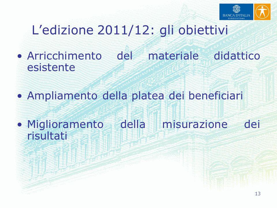 13 L'edizione 2011/12: gli obiettivi Arricchimento del materiale didattico esistente Ampliamento della platea dei beneficiari Miglioramento della misu