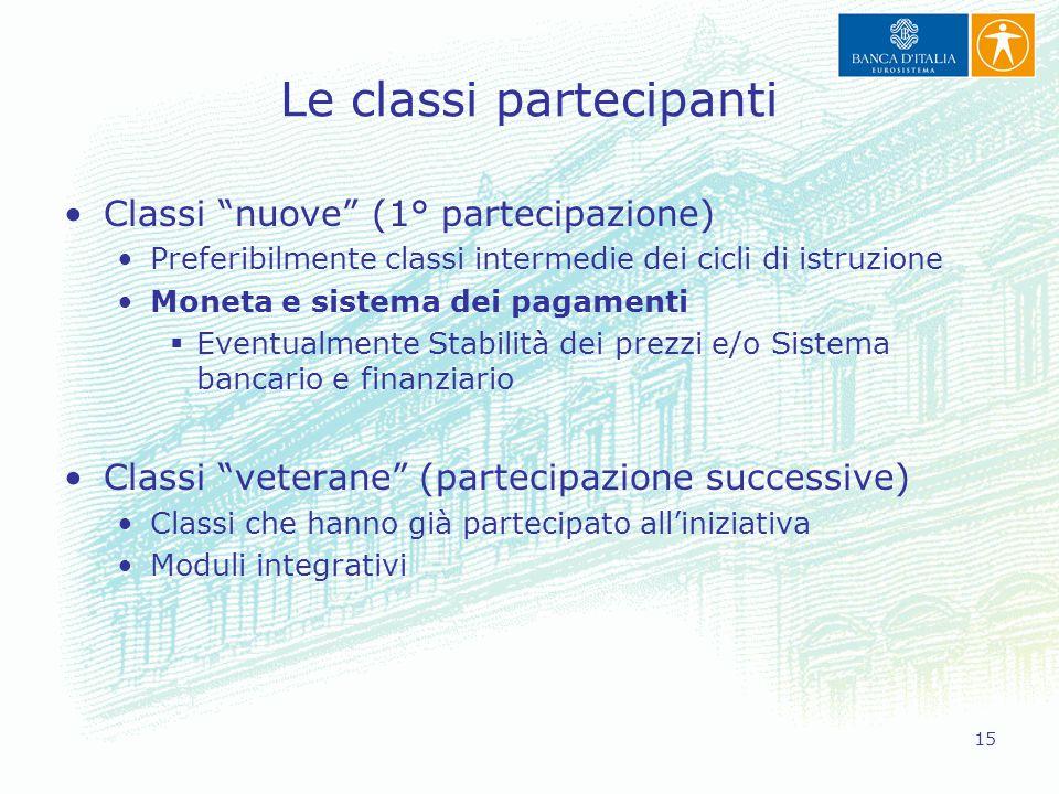"""15 Le classi partecipanti Classi """"nuove"""" (1° partecipazione) Preferibilmente classi intermedie dei cicli di istruzione Moneta e sistema dei pagamenti"""