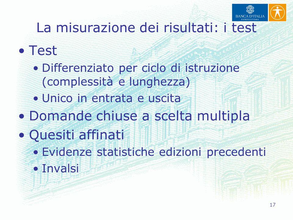 17 La misurazione dei risultati: i test Test Differenziato per ciclo di istruzione (complessità e lunghezza) Unico in entrata e uscita Domande chiuse