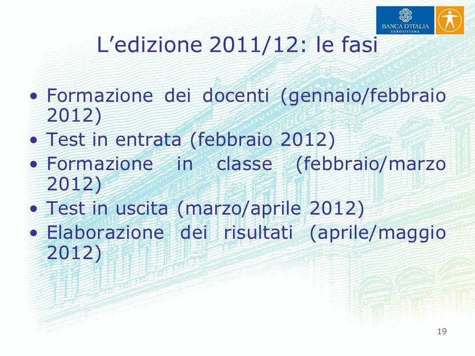 19 L'edizione 2011/12: le fasi Formazione dei docenti (gennaio/febbraio 2012) Test in entrata (febbraio 2012) Formazione in classe (febbraio/marzo 201