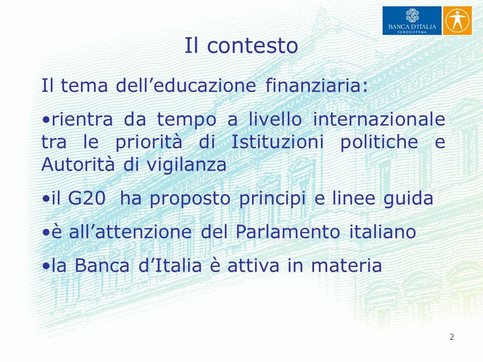 2 Il contesto Il tema dell'educazione finanziaria: rientra da tempo a livello internazionale tra le priorità di Istituzioni politiche e Autorità di vi