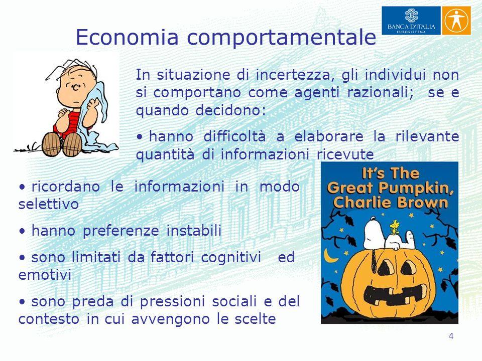 4 Economia comportamentale In situazione di incertezza, gli individui non si comportano come agenti razionali; se e quando decidono: hanno difficoltà