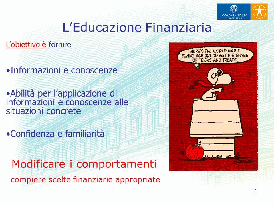 5 L'Educazione Finanziaria L'obiettivo è fornire Informazioni e conoscenze Abilità per l'applicazione di informazioni e conoscenze alle situazioni con