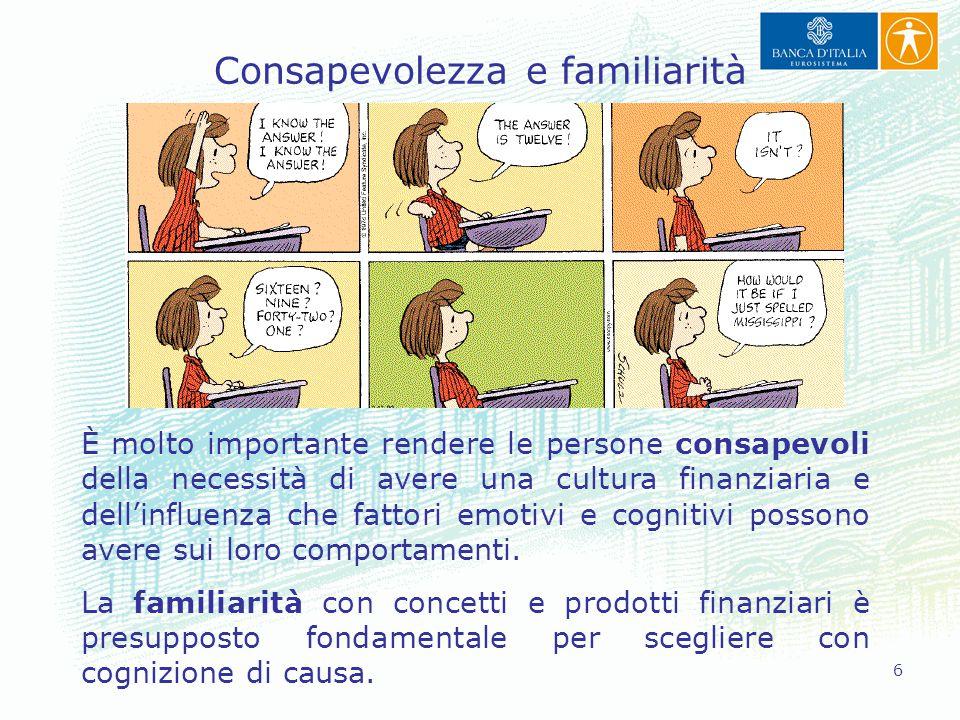 6 Consapevolezza e familiarità È molto importante rendere le persone consapevoli della necessità di avere una cultura finanziaria e dell'influenza che