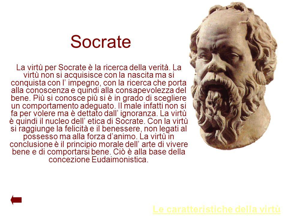 Socrate La virtù per Socrate è la ricerca della verità. La virtù non si acquisisce con la nascita ma si conquista con l' impegno, con la ricerca che p