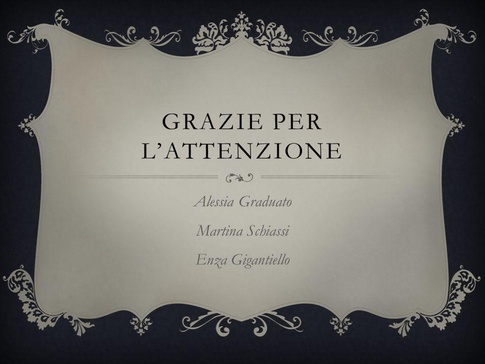 GRAZIE PER L'ATTENZIONE Alessia Graduato Martina Schiassi Enza Gigantiello