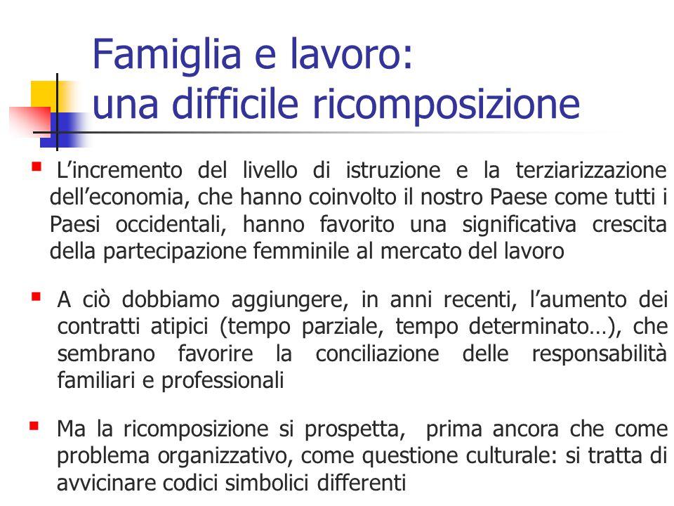 Famiglia e lavoro: una difficile ricomposizione  L'incremento del livello di istruzione e la terziarizzazione dell'economia, che hanno coinvolto il n