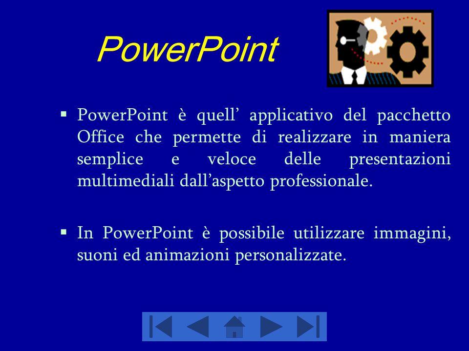PowerPoint  PowerPoint è quell' applicativo del pacchetto Office che permette di realizzare in maniera semplice e veloce delle presentazioni multimed