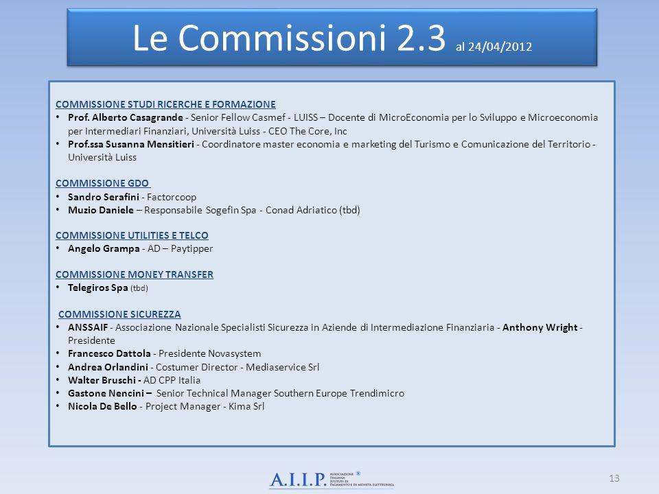 Le Commissioni 2.3 al 24/04/2012 COMMISSIONE STUDI RICERCHE E FORMAZIONE Prof. Alberto Casagrande - Senior Fellow Casmef - LUISS – Docente di MicroEco