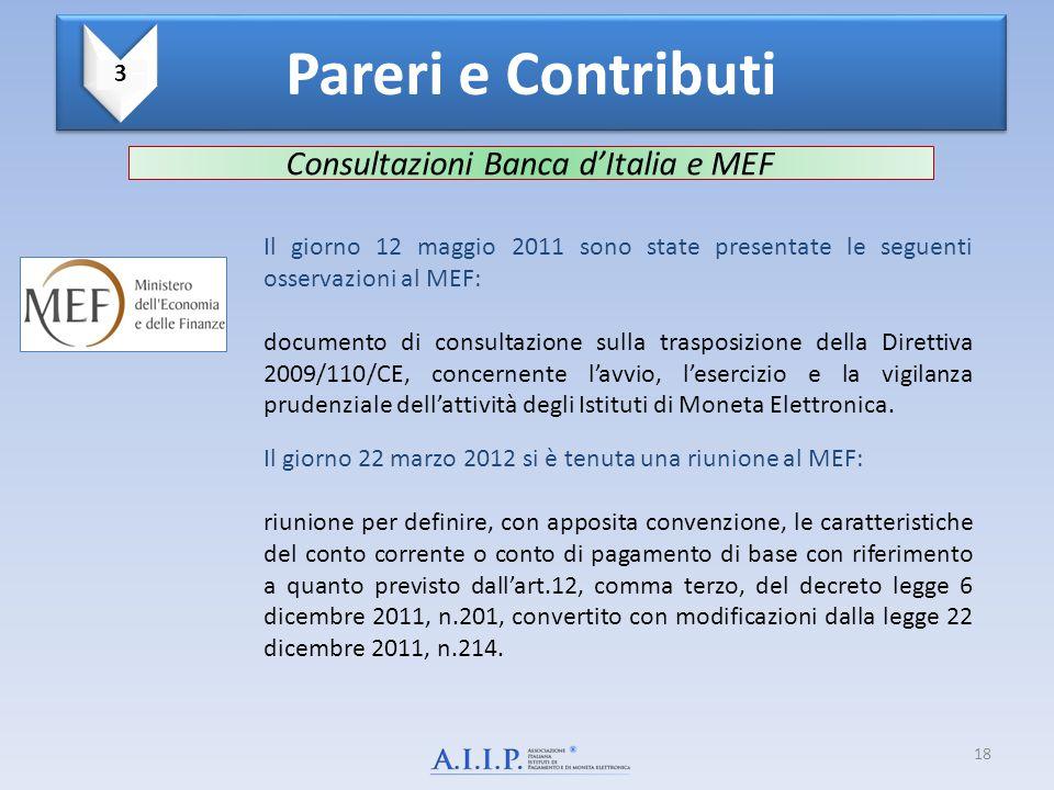 Consultazioni Banca d'Italia e MEF Il giorno 12 maggio 2011 sono state presentate le seguenti osservazioni al MEF: documento di consultazione sulla tr
