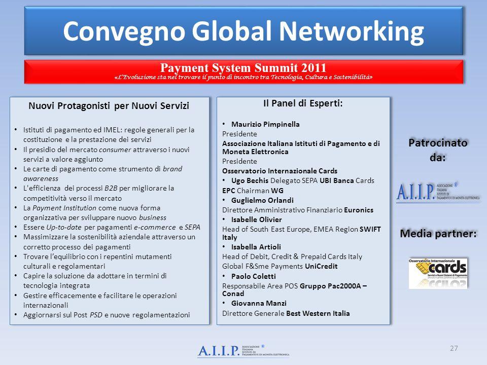 Convegno Global Networking Payment System Summit 2011 « L'Evoluzione sta nel trovare il punto di incontro tra Tecnologia, Cultura e Sostenibilità» Pay