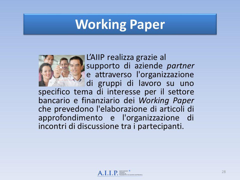 L'AIIP realizza grazie al supporto di aziende partner e attraverso l'organizzazione di gruppi di lavoro su uno specifico tema di interesse per il sett