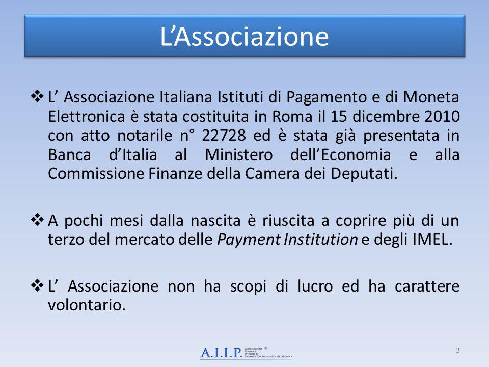 L'Associazione  L' Associazione Italiana Istituti di Pagamento e di Moneta Elettronica è stata costituita in Roma il 15 dicembre 2010 con atto notari