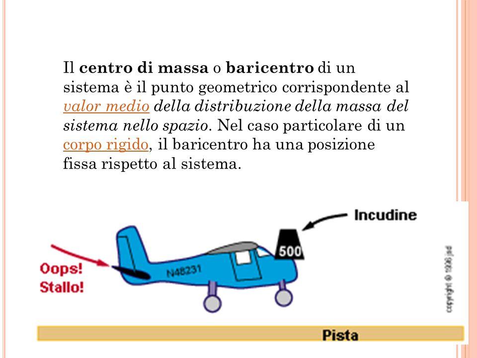 Il centro di massa o baricentro di un sistema è il punto geometrico corrispondente al valor medio della distribuzione della massa del sistema nello sp