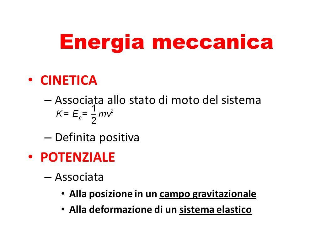 Energia potenziale Gravitazionale – Occorre definire un livello di riferimento per lo 0 – Dipende solo dalla quota Elastica – Dipende dalla deformazione elastica del sistema