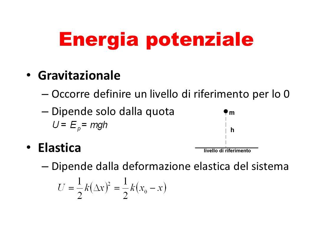 Energia potenziale Gravitazionale – Occorre definire un livello di riferimento per lo 0 – Dipende solo dalla quota Elastica – Dipende dalla deformazio