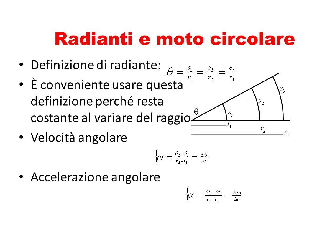 Radianti e moto circolare Definizione di radiante: È conveniente usare questa definizione perché resta costante al variare del raggio Velocità angolar